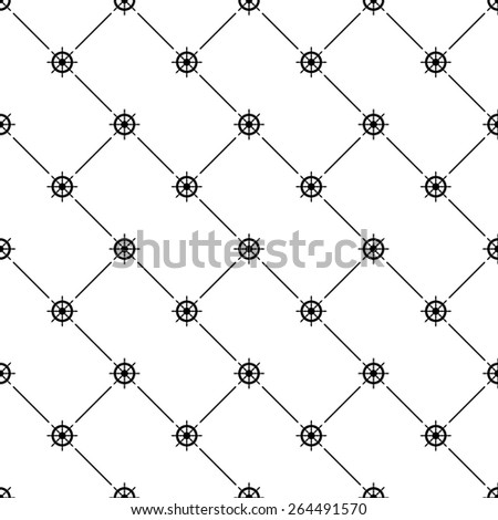 Black seamless pattern with ships wheel symbol on white, 10eps.