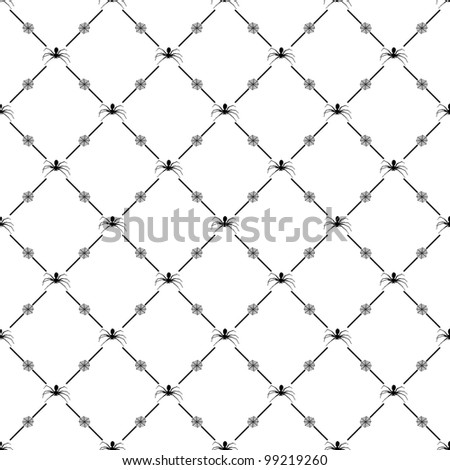 Black seamless pattern with spider symbol, 10eps. - stock vector