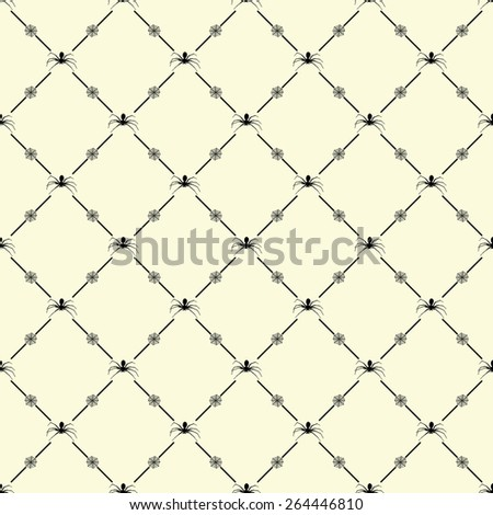 Black seamless pattern with spider symbol on beige, 10eps.