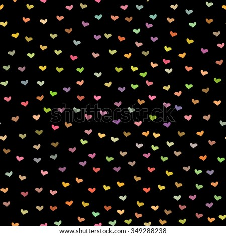 Black seamless pattern with tiny colorful hearts. Abstract repeating. Cute backdrop. Dark background. Template for Valentine's, Mother's Day, wedding, scrapbook, surface textures. Vector illustration. - stock vector