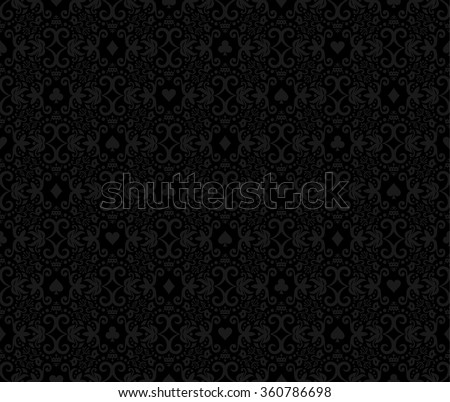 Black seamless poker background with dark grey damask pattern and cards symbols - stock vector