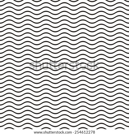 Black seamless wavy line pattern vector illustration - stock vector