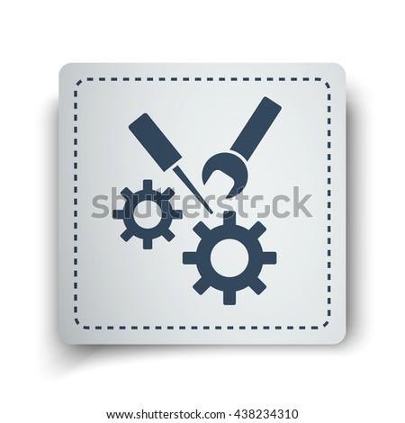 Black Service icon on white sticker - stock vector