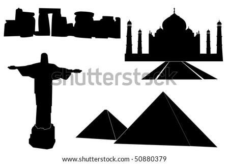 Black set of main world monuments. - stock vector
