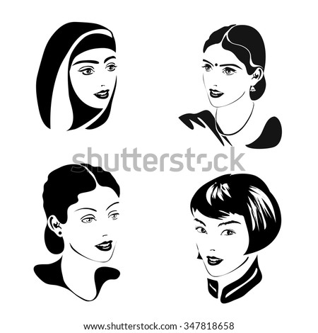 black  set of portraits of women of different nationality and religion. Europe, India, Asia, Arab. Vector - stock vector