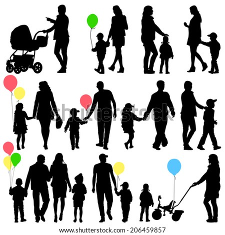Black set of silhouettes of parents and children on white background. Vector illustration.