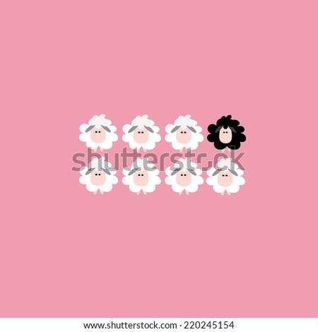 Black sheep business concept, Vector cartoon design. - stock vector