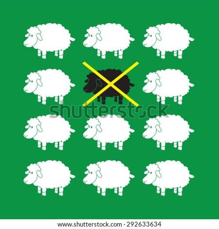 Black sheep illustration, t-shirt graphics, vectors, comic  - stock vector