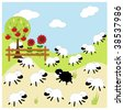 black sheep in the family - stock vector