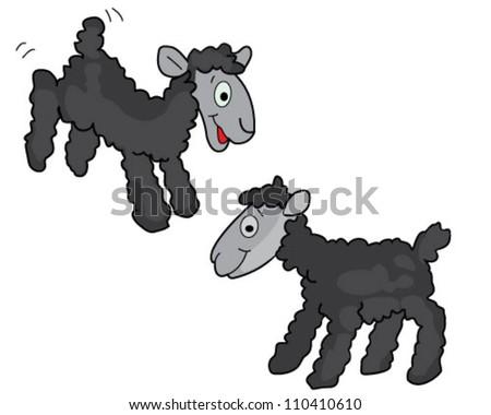 Black sheep over white background - stock vector