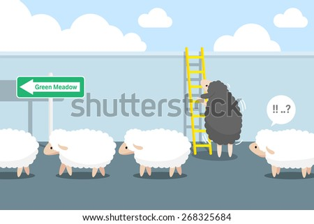 Black sheep to climb the stairs try to see behind the wall.flat design and vector illustration - stock vector