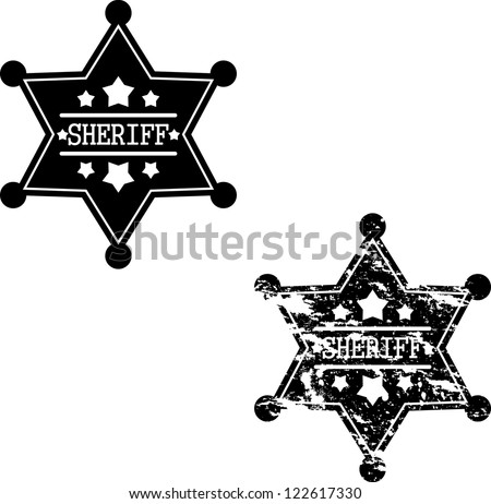 Black sheriff badges on white background - stock vector
