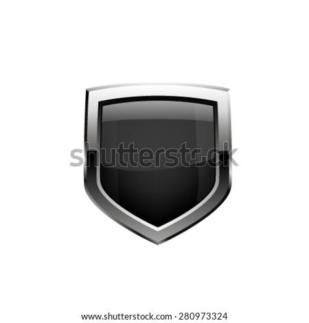 Black shield. Vector - stock vector