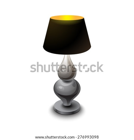 Black shining table-lamp with metal stem on white background vector illustration
