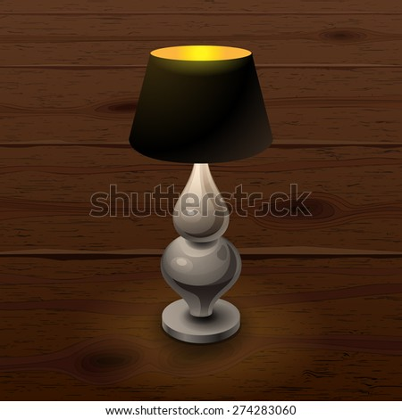 Black shining table-lamp with metal stem on wood texture background vector illustration - stock vector