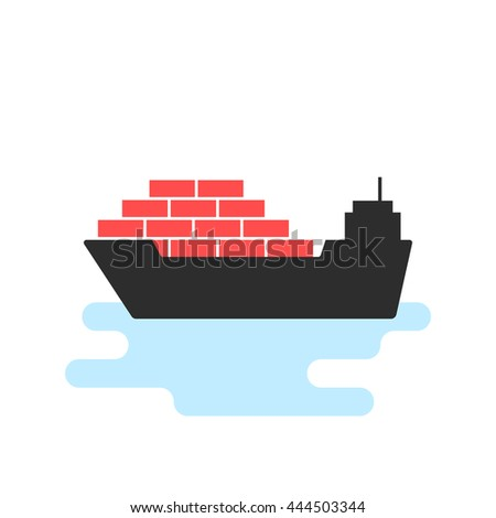black ship icon with cargo. concept of seaport emblem, voyage, shipbuilding, trip, anchor, maritime, wave. flat style trend modern logotype template design vector illustration on white background - stock vector