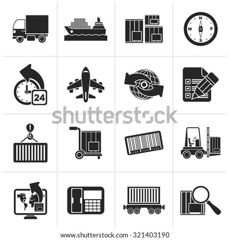 Black shipping and logistics icons - vector icon set