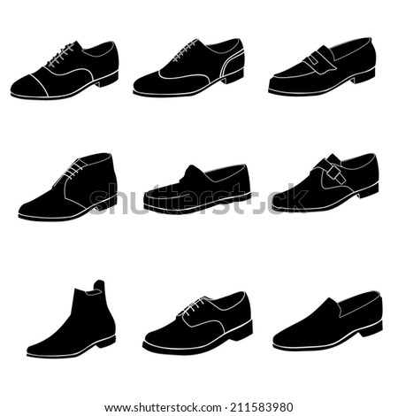 Black shoes icon. Vector. - stock vector