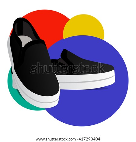 black shoes on a colored background