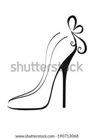 black shoes with high heels - stock vector