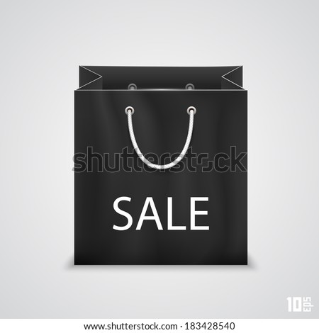 Black shopping bags with written sale, isolated on white