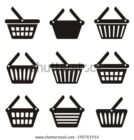 Black shopping basket icons collection on white background - stock vector