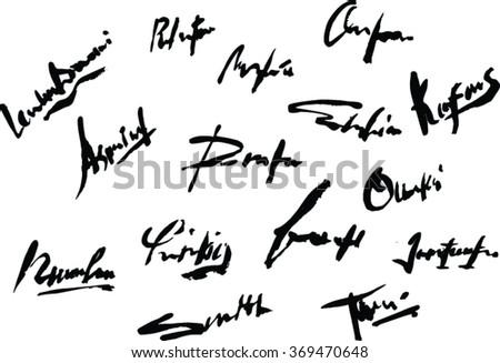 black signatures - stock vector