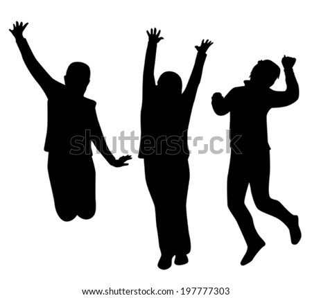 black silhouette against a white background children jump vector