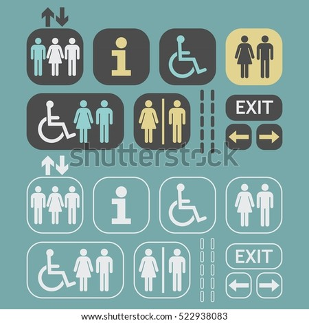 Black silhouette and white outline Man and Woman public access icons set on teal background