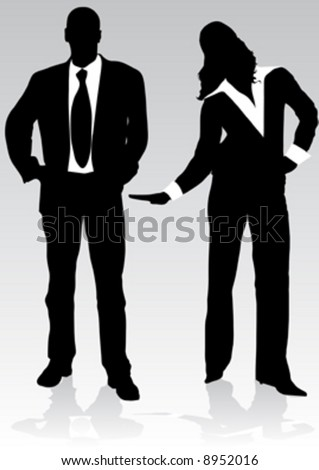 black silhouette businessman and woman