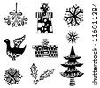 black silhouette christmas icons, isolated on white - stock vector