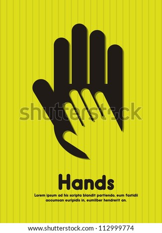 black silhouette hands over green background. vector illustration - stock vector