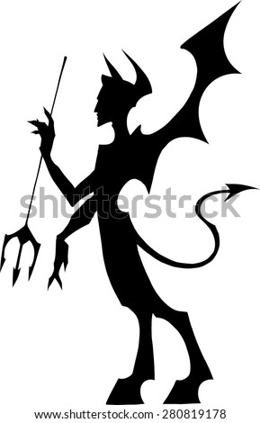 Black silhouette illustration of a devil with wings and a pitchfork - stock vector