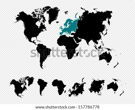 Black silhouette isolated World map focused in europe and other continents. EPS10 vector file organized in layers for easy editing. - stock vector