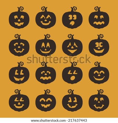 Black Silhouette Jack-O-Lantern Pumpkins with Various Facial Expressions
