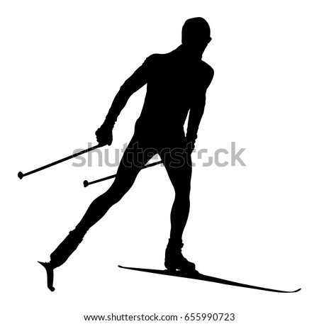 Black Silhouette Male Athlete Cross Country Skier