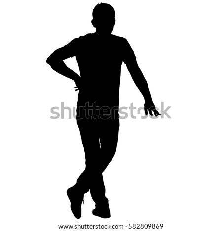 Black Silhouette Man Standing People On Stock Vector ...
