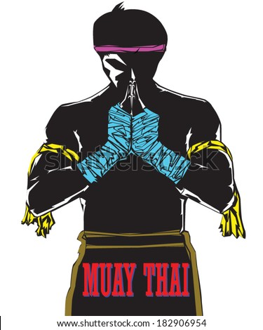 Black silhouette Muaythai character with complete suit in praying demeanor - stock vector