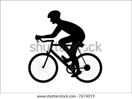 Black silhouette of a biker riding bicycle.