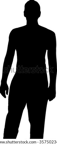 Black silhouette of a man in full growth on a white background in vector format. - stock vector