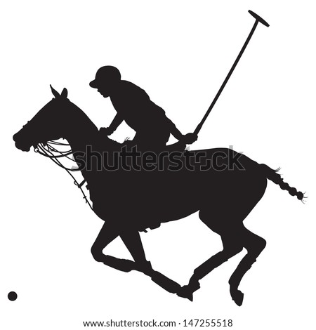 Black silhouette of a polo player and horse  - stock vector