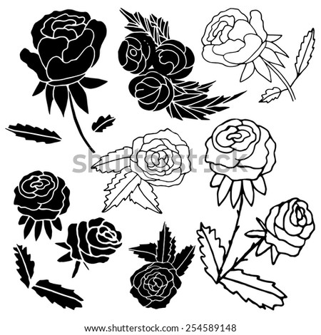 Black silhouette of a rose on a white background. Doodle. Sketch. Set. - stock vector