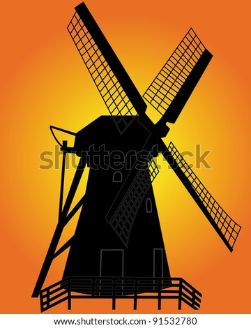 black silhouette of a windmill on an orange background - stock vector