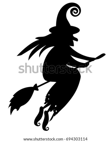 black silhouette of a witch flying on a broomstick silhouette for the halloween mystical - Flying Halloween Witch