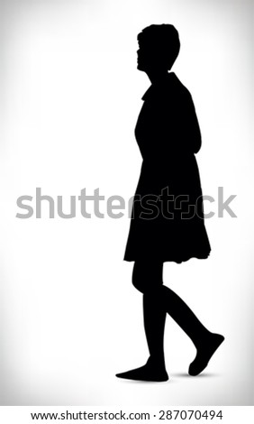 Black silhouette of a woman walking isolated on a white background