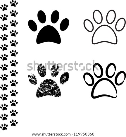 Black silhouette of animal footprints on white background