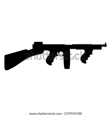 Black silhouette of automatic weapon tommy gun. Thompson submachine gun vector isolated. - stock vector