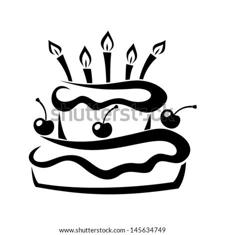 Black Silhouette Birthday Cake Vector Illustration Stock Vector