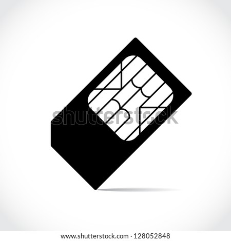 black silhouette of cell phone sim card - stock vector