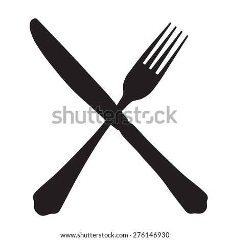 Black silhouette of crossed fork and knife icon vector isolated. - stock vector